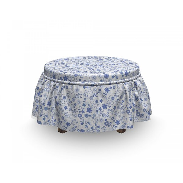 Little Blossoms Romantic Ottoman Slipcover (Set Of 2) By East Urban Home
