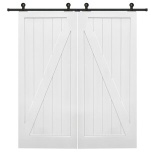 Double Stile And Rail Z Planked Mdf 2 Panel Interior Barn Door With Hardware Set Of