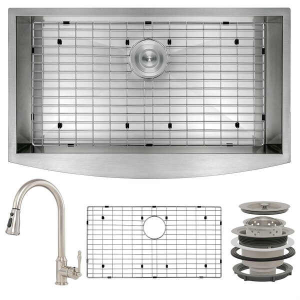 Pull-Down 33 L x 20 W Farmhouse Kitchen Sink with Faucet