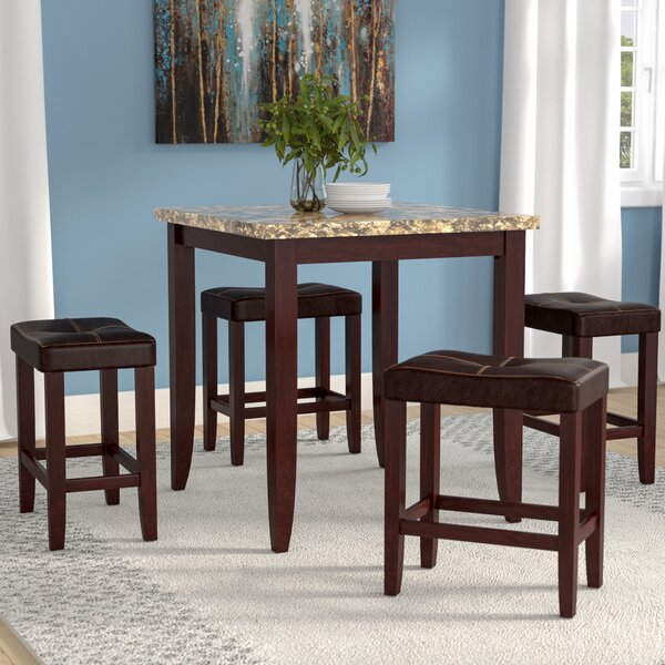 Dejean 5 Piece Counter Height Dining Set by Latitude Run