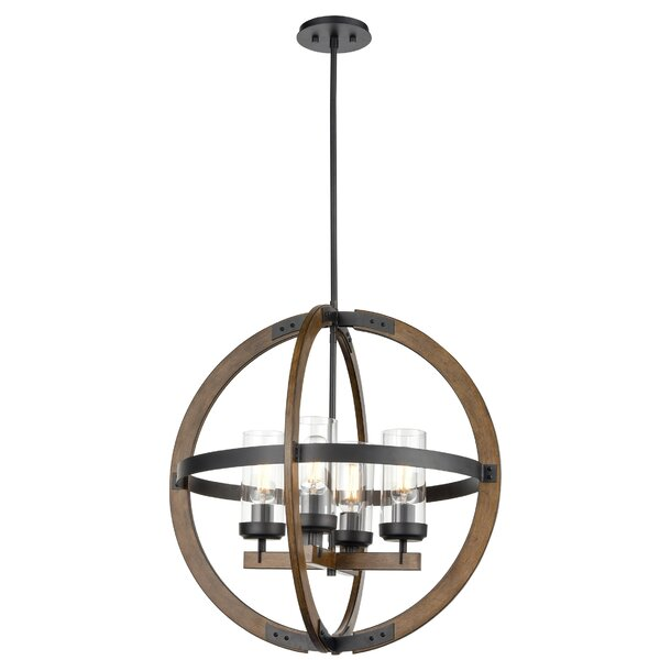 Apalachin 4 - Light Unique Globe Chandelier with Wood Accents by Gracie Oaks Gracie Oaks