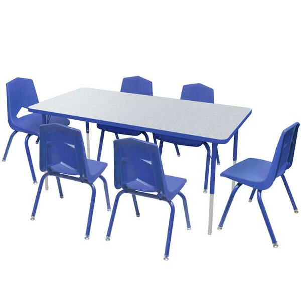 7 Piece Rectangular Activity Table and Chair Set &