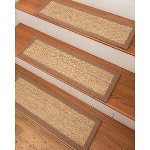 Half Panama Seagrass Carpet Beige Stair Treads