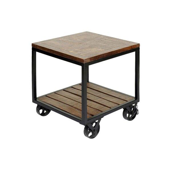 Jamila 2 Tier Industrial Trolley Wheel End Table by 17 Stories