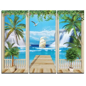 Wooden Terrace with Sea View - 3 Piece Graphic Art on Wrapped Canvas Set by Design Art