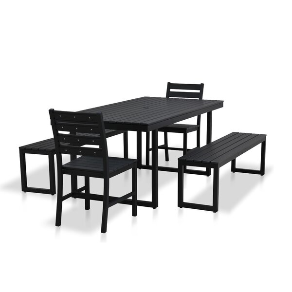 Alissa Outdoor Rectangular 5 Piece Dining Set by Longshore Tides