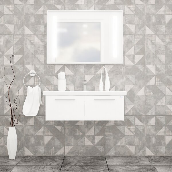 Urich 40 Wall-Mounted Single Bathroom Vanity Set with Mirror