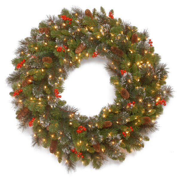 Spruce 30 Pre-Lit Plastic Wreath by Three Posts
