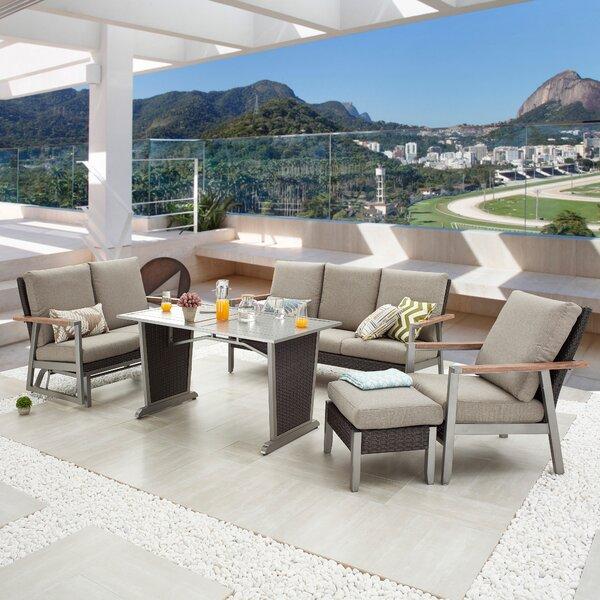 Saliha Outdoor 5 Piece Sofa Seating Group with Cushions by Latitude Run
