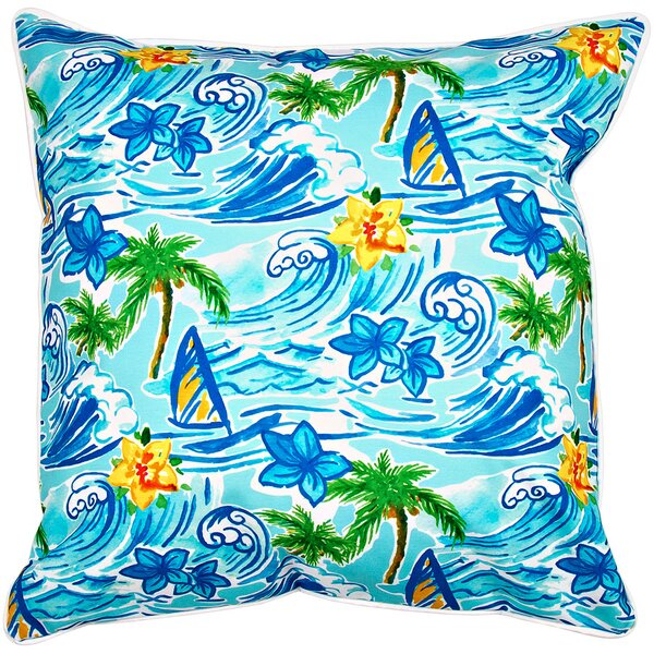 Surfer Hawaiian Surf Throw Pillow by Island Girl Home