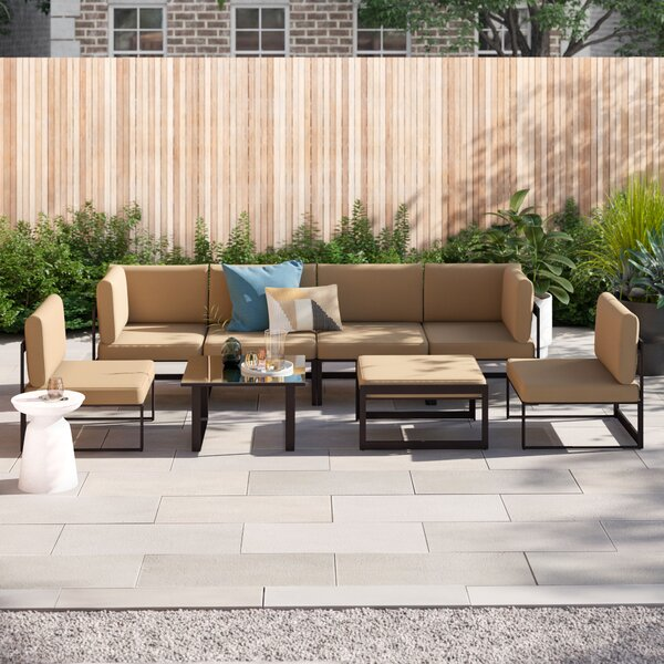 Annemarie Outdoor Patio 8 Piece Sectional Seating Group with Cushions by Foundstone Foundstone
