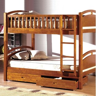 Poe Twin Bunk Bed with Drawers By Harriet Bee