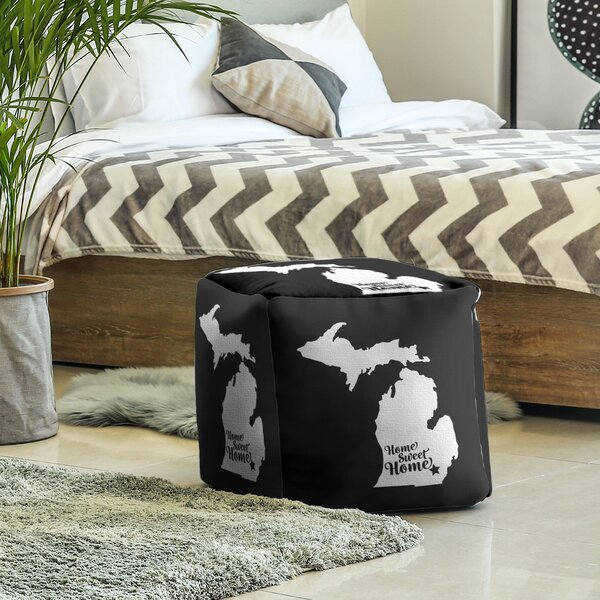 Home Sweet Ann Arbor Cube Ottoman by East Urban Home East Urban Home