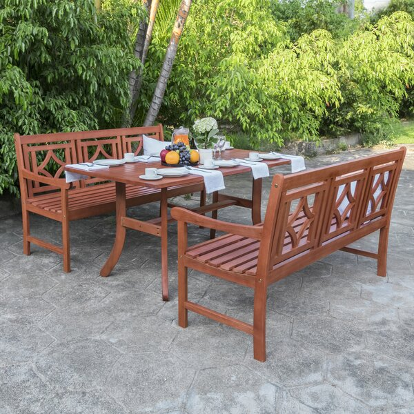 Amabel 3 Piece Patio Dining Set by Beachcrest Home
