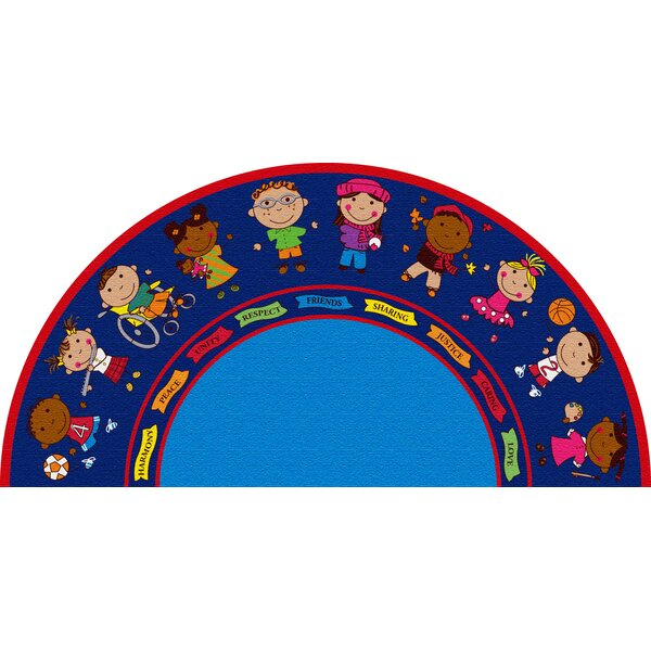 Friends Blue Semicircle Area Rug by Kid Carpet