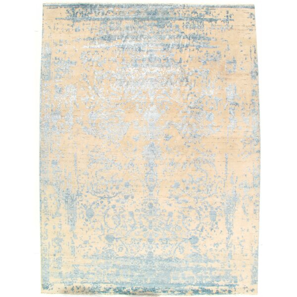 Modern Design Hand-Knotted Wool Cream Area Rug by Pasargad NY