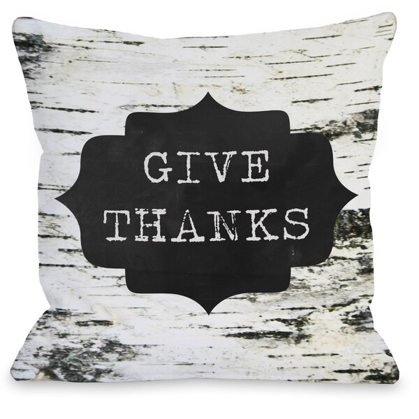 Give Thanks Birch Bark Throw Pillow by One Bella Casa