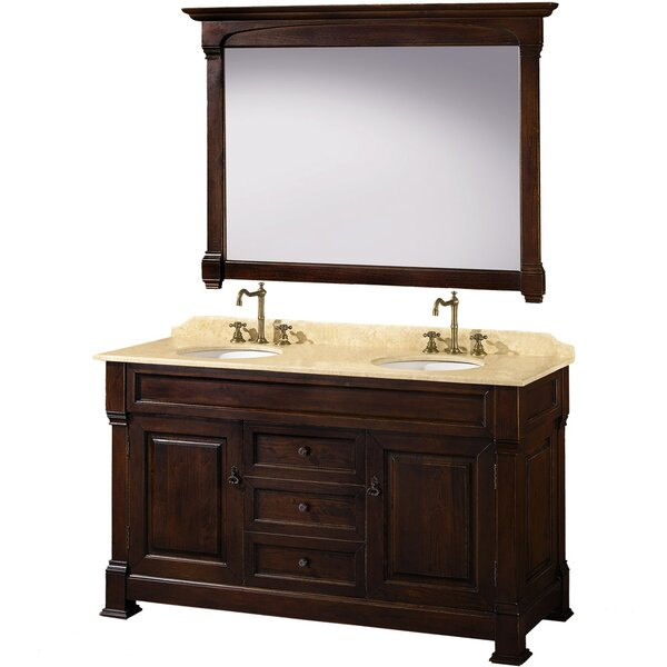 Andover 60 Double Dark Cherry Bathroom Vanity Set with Mirror by Wyndham Collection