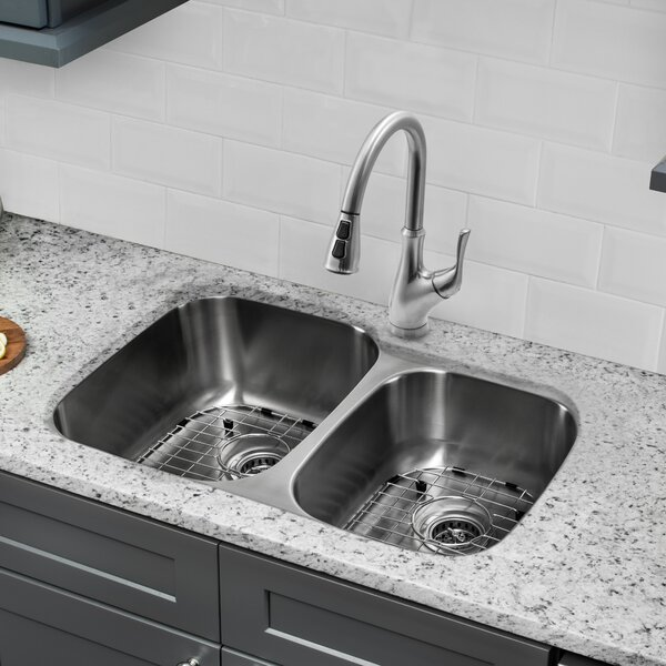 33 L x 21 W Double Basin Undermount Kitchen Sink with Faucet and Soap Dispenser by Cahaba
