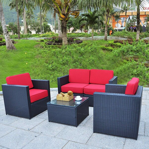 Derek Patio 4 Piece Sofa Seating Group with Cushions by Longshore Tides