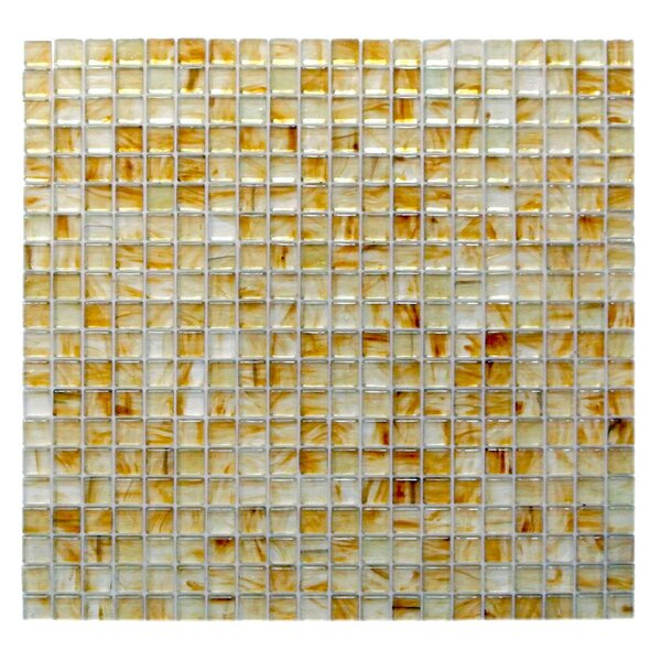 Amber 0.63 x 0.63 Glass Mosaic Tile in Glazed Brushed Gold by Abolos