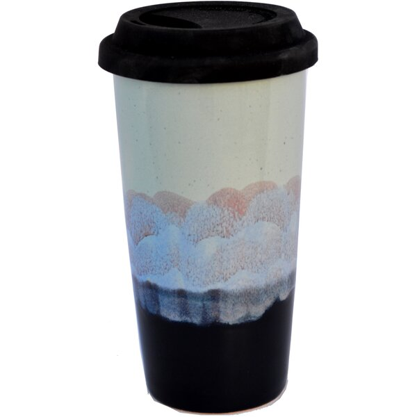 Junya Mountain Waves Glaze 15 oz. Double Walled Tall Travel Mug by Bloomsbury Market