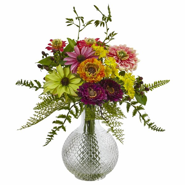 Mixed Floral Arrangements in Decorative Vase by Nearly Natural