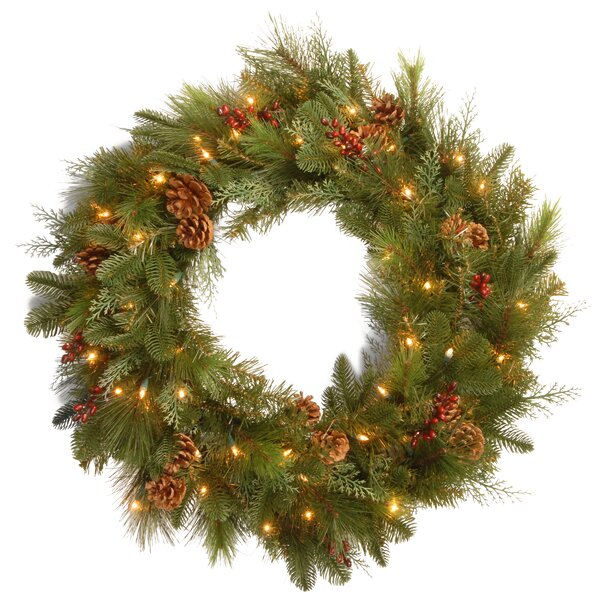 Pre-Lit Noble Mixed 30'' Lighted Wreath by National Tree Co.