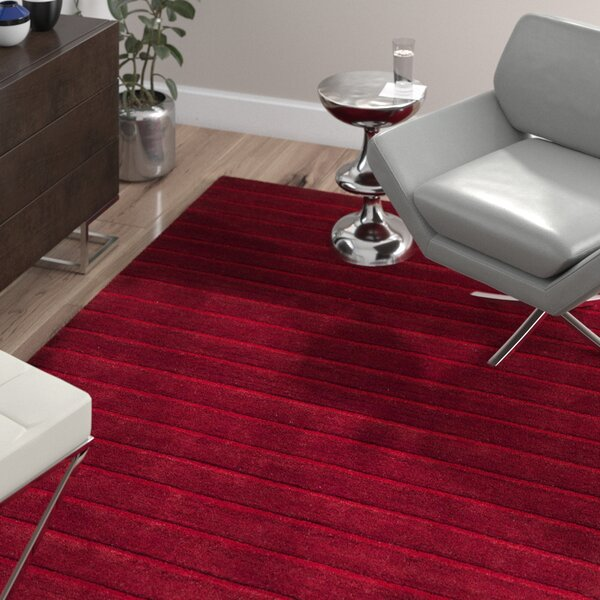 Walker Hand-Tufted Red Area Rug by Wade Logan