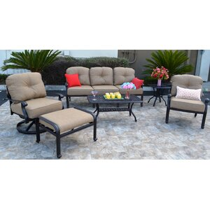 Sidney 6 Piece Antique Bronze Deep Seating Group with Cushion Three Posts