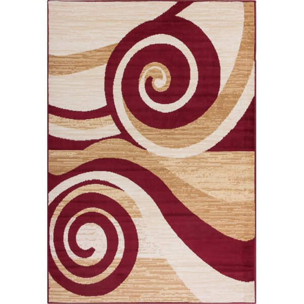 Ayala Waves and Scrolls Power Loom Brown/Red Indoor Area Rug by Ebern Designs
