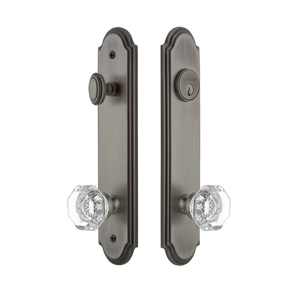 Arc Tall Plate Single Cylinder One Piece Knobset with Chambord Knob by Grandeur