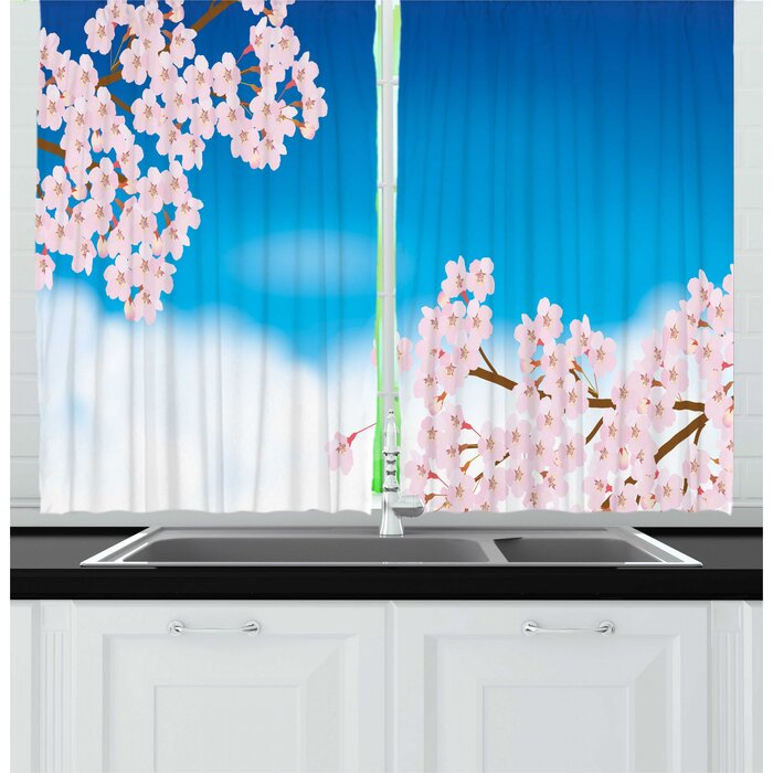 2 Piece Blue and Pink Sunny Day Sky with Floral Tender Cherry Blossom Branches Kitchen Curtain Set