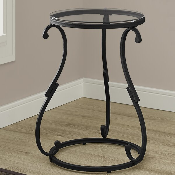 Hammered Black Metal End Table by Monarch Specialties Inc.