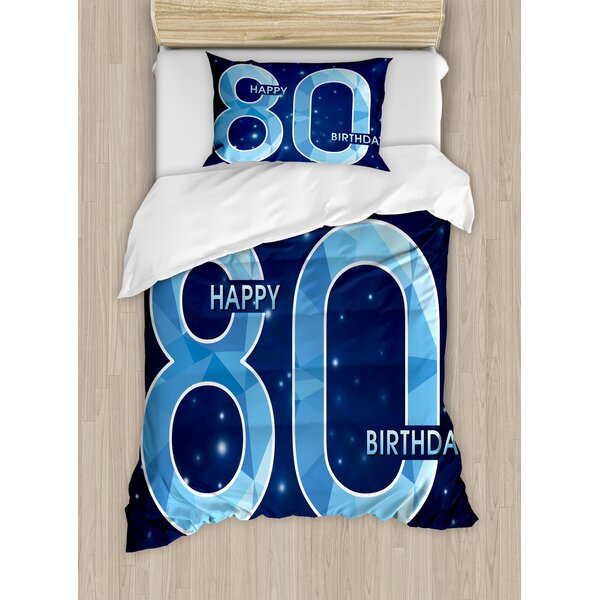 80th Birthday Decorations Diamond Age 80 Happy Party Theme With Stars Duvet Set By Ambesonne