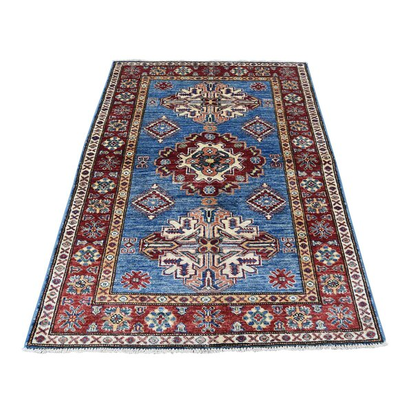One-of-a-Kind Espada Super Caucasian Oriental Hand-Knotted Blue Area Rug by Millwood Pines