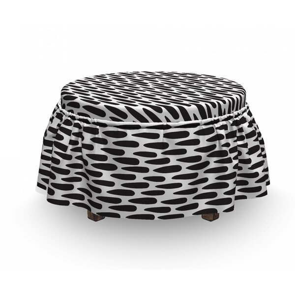 Abstract Brush Mark Art Ottoman Slipcover (Set Of 2) By East Urban Home
