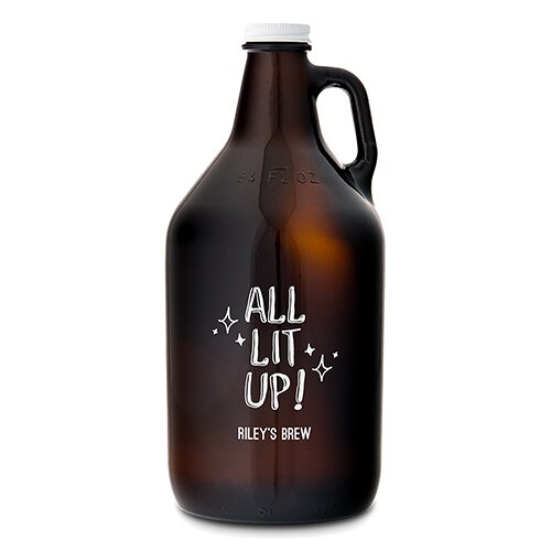 All Lit Up! Glass Beer 64 oz. Growler by Weddingstar