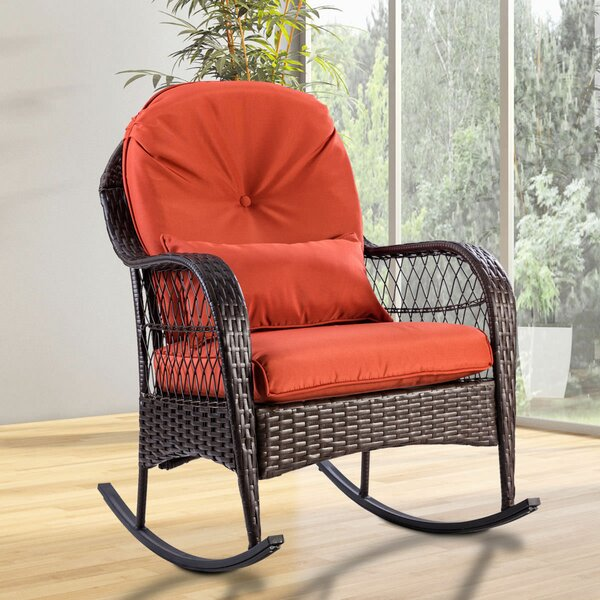 Myrtlewood Wicker Deck Rocking Chair with Cushion by Charlton Home