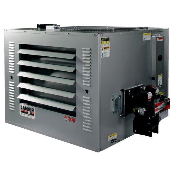 MX-Series 300,000 BTU Waste Oil Forced Air Cabinet Heater with Wall Chimney by Lanair Products, LLC