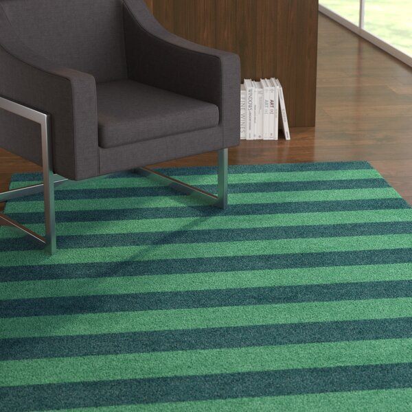 Faasulu Stripe Hand-Tufted Wool Green/Teal Area Rug by Latitude Run