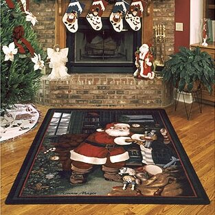 winter seasonal santas visit christmas area rug