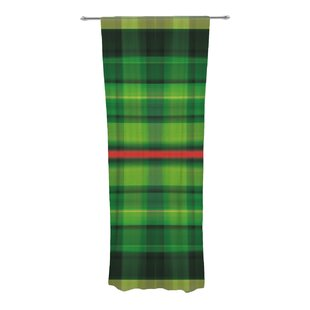Tartan Plaid Check Sheer Rod Pocket Curtain Panels Set Of 2