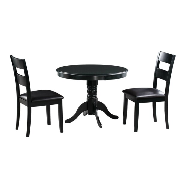 Darwin 3 Piece Solid Wood Dining Set by Alcott Hill