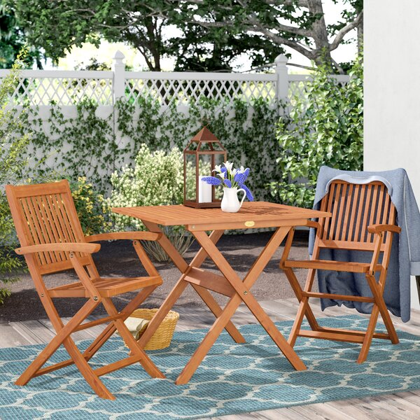 Cadsden 3 Piece Folding Bistro Dining Set by Three Posts