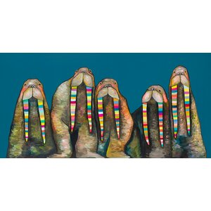 'Designer Walruses on Marine Blue' by Eli Halpin Graphic Art on Canvas by GreenBox Art