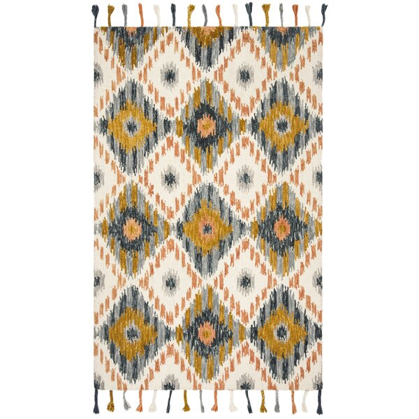 Niederanven Boho Hand Tufted Wool Ivory/Yellow Area Rug by Bungalow Rose