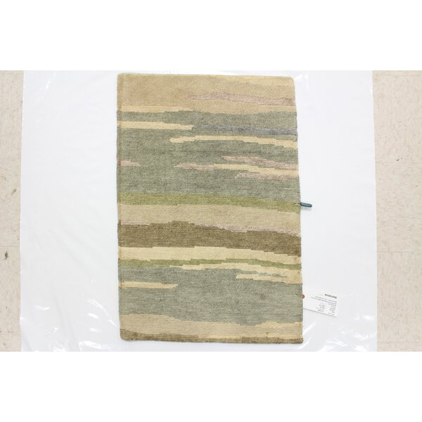 One-of-a-Kind Devizes Hand-Knotted Wool Light Blue/Beige Area Rug by Isabelline