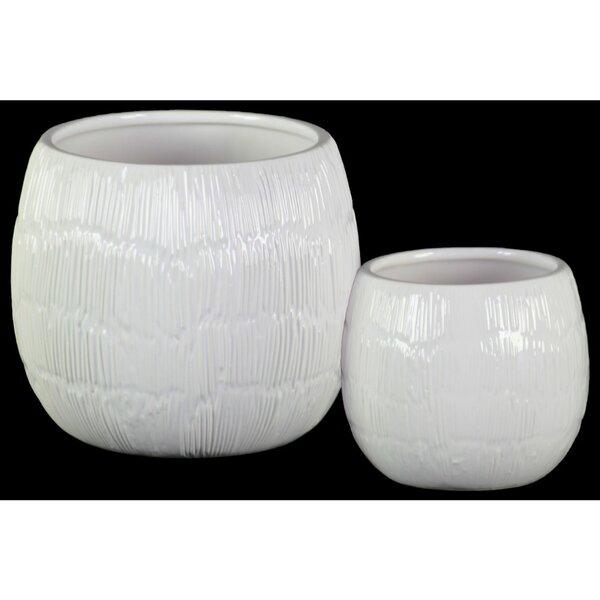 Brazil Round Shaped Ceramic Pot Planter Set (Set of 2) by Bay Isle Home