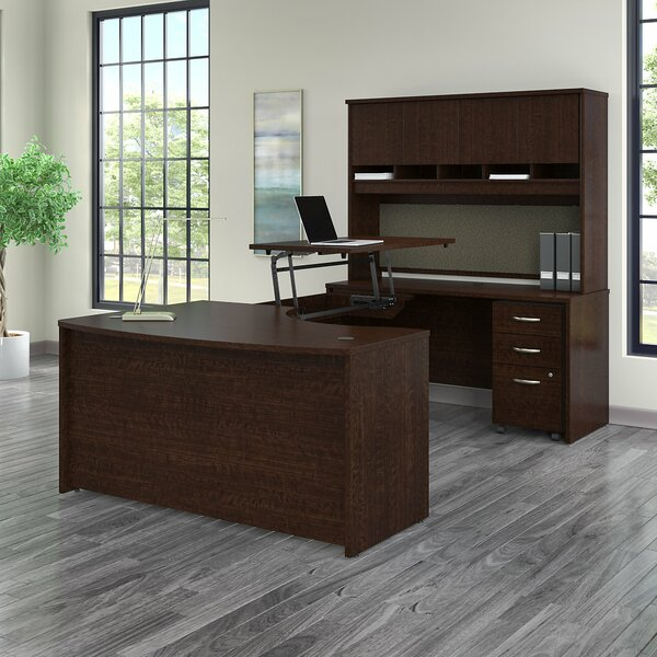 Series C  Height Adjustable U-Shaped Standing Desk with Hutch